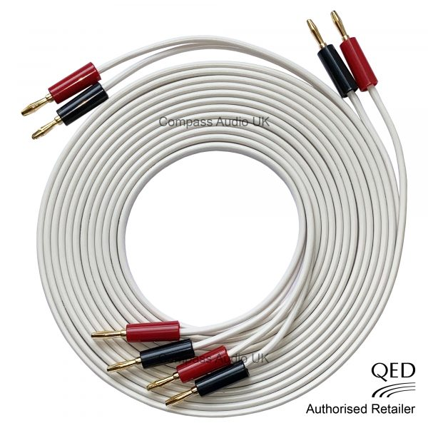 QED 79 Strand OFC Speaker Cable White Terminated