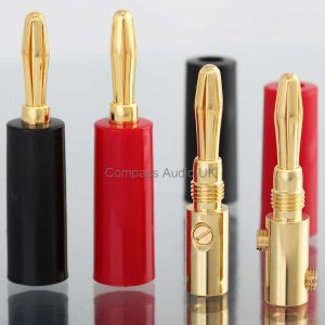 GOLD 4mm BANANA PLUGS Twin Screw Audio Connectors