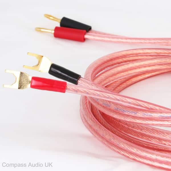 ofc speaker cable pro252 504 strand plugs spades terminated compass audio. Black Bedroom Furniture Sets. Home Design Ideas