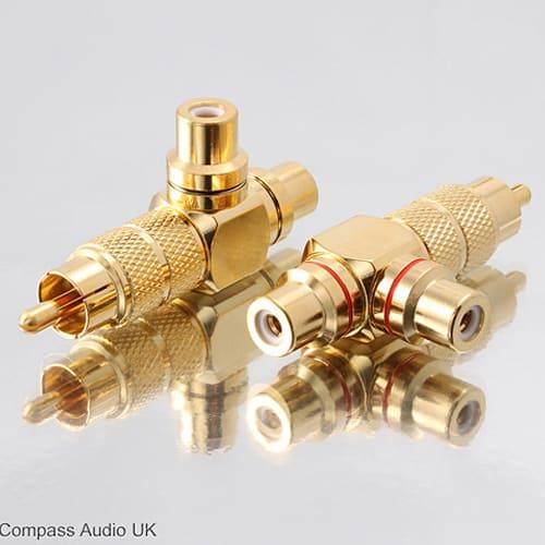 RCA PHONO Splitter Right Angle Audio Adaptors